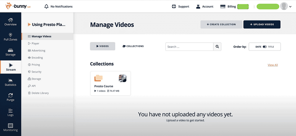 Presto Player - Bunny Stream - Video Libraries - Collection