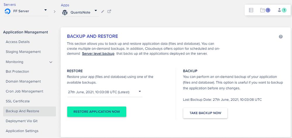 Cloudways - Server Backup - Restore