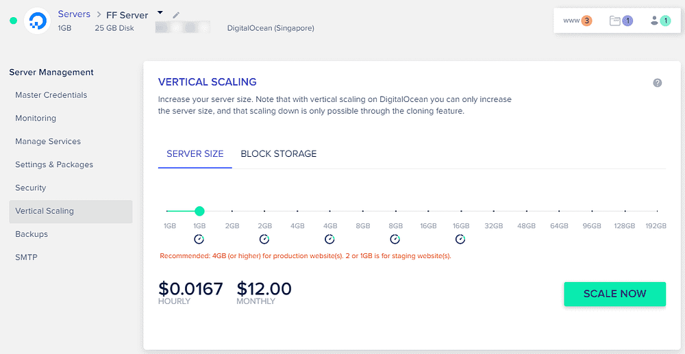 Cloudways - Vertical Scaling - select server size