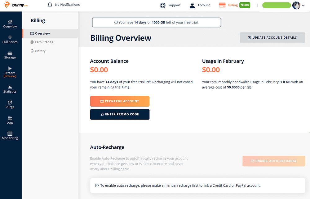 BunnyNet - Billing Overview - after updating billing info