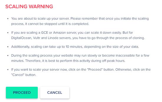 Cloudways - Vertical Scaling - Warning