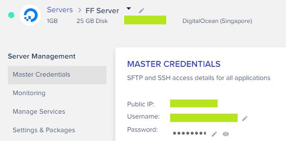 Cloudways - Master Credentials