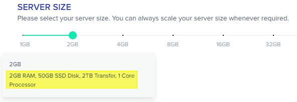 Cloudways - Choose Server Spec - Size