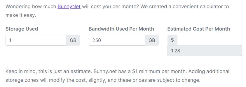 Presto Player - BunnyNet Cost Calculator