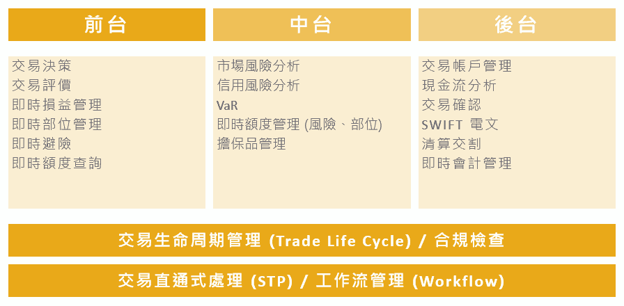 Treasury System Front to Back Function 資金系統 and Consultants