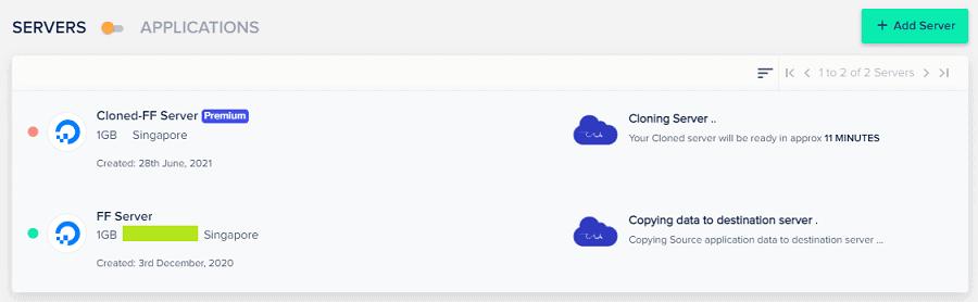Cloudways - Clone Server - Cloning in the progress