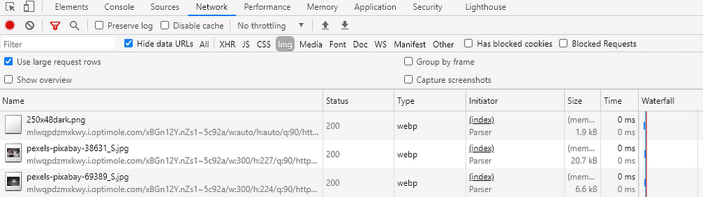 PageSpeed Optimization - Chrome - Inspect - Network - Image