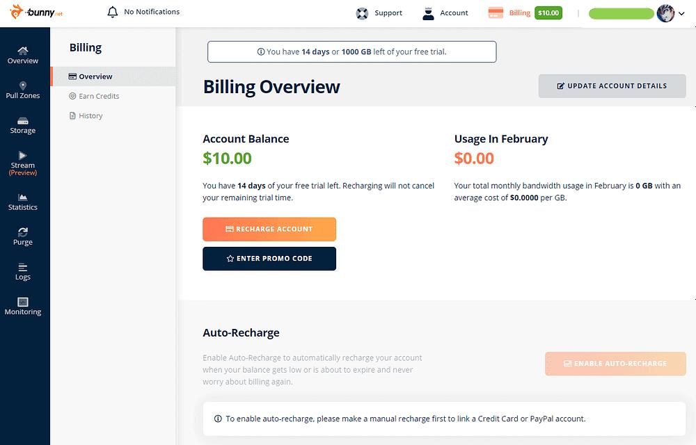 BunnyNet - Billing - after enter PROMO Code