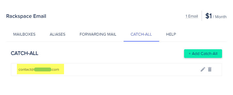 4. Cloudways Addons - Rackspace Email - Catch All