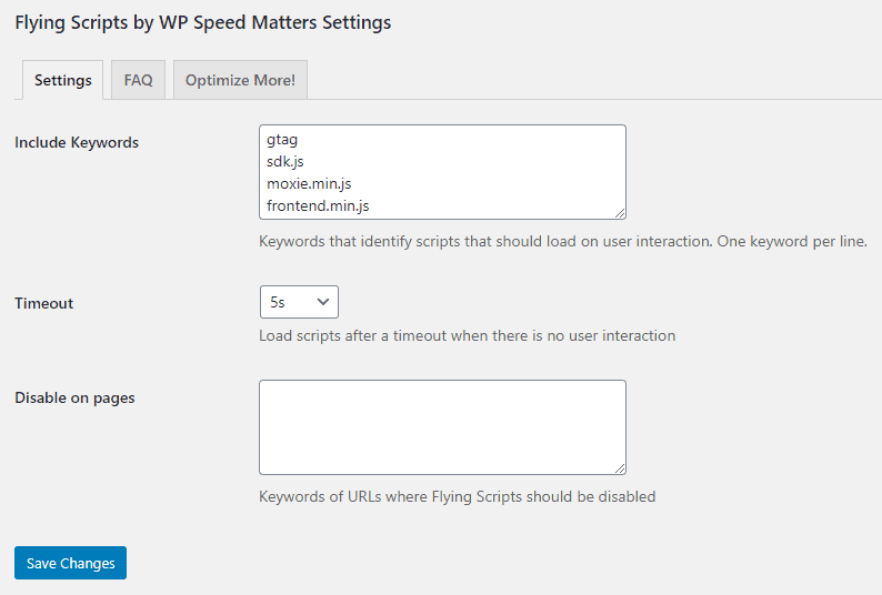 Flying Scripts by WP Speed Matters Settings