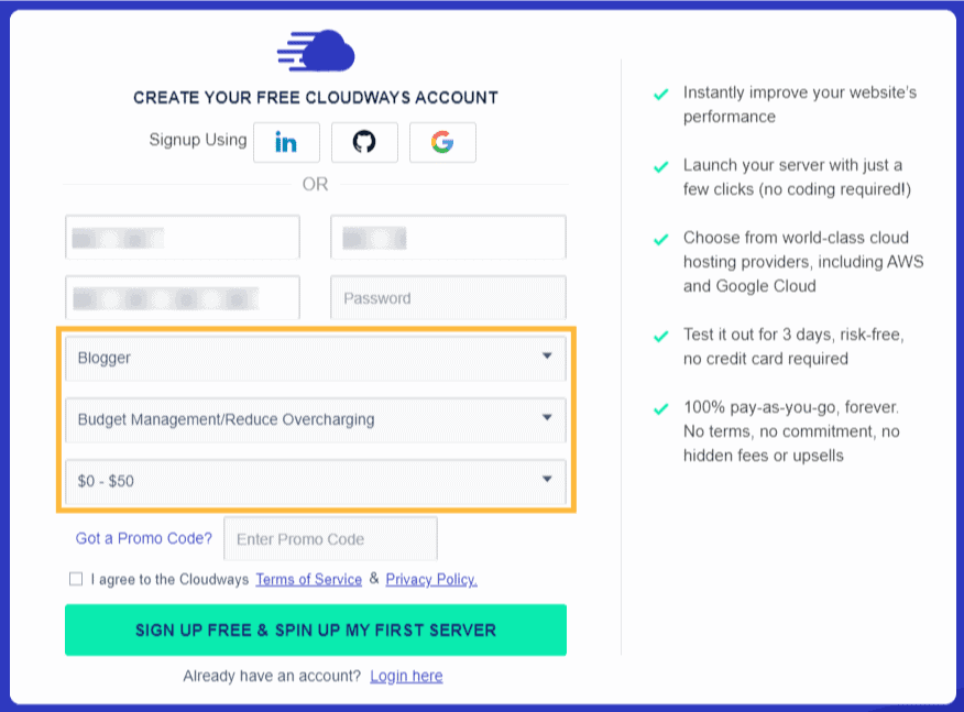 Cloudways-free-trial-signup-step-2