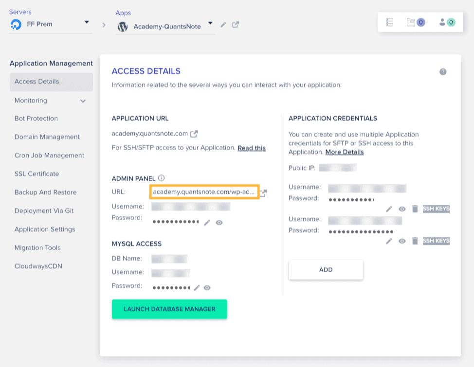 cloudways-application-access-details-admin-panel